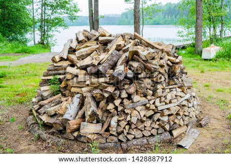 firewood piled in one pile outdoors against the backdrop of nature