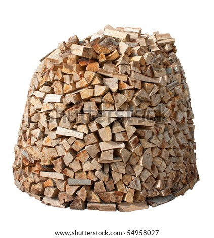 Firewood stack isolated over white. Clipping path included.