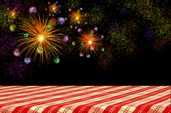 Firework celebration on dark background with Picnic Table.