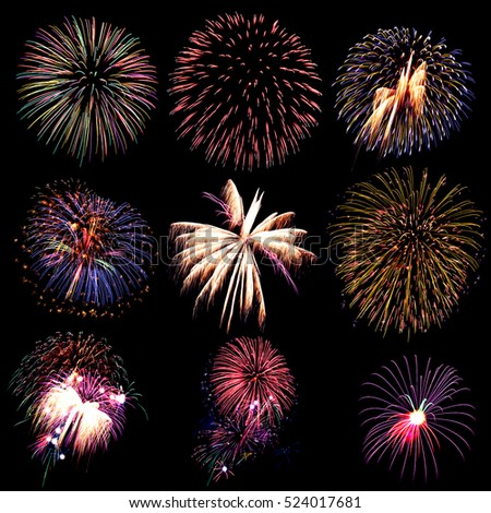 Firework collection and beautiful many fireworks, Fireworks light up the sky, New Year celebration firework, Set of colorful fireworks light on the black background. #524017681