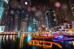 Firework display at Dubai marina at night, UAE
