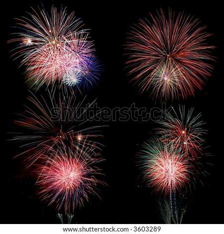 Firework display at night with black background