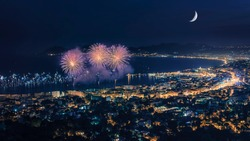 Firework in Cannes on the French Riviera