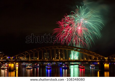 Firework in green and red colors, Cologne, Germany