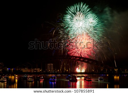 Firework in red and green colors, Cologne, Germany