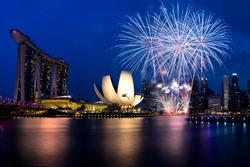 Firework in 50SG festival, Marina bay Singapore, Singapore city skyline.