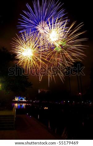 Firework of the Thai father's day,Nakhonrajsima Thailand - stock photo