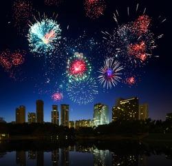 Firework over city Kuala Lumpur