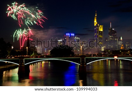 Firework over Frankfurt at the Main river -  skyscrapers in the background, Germany