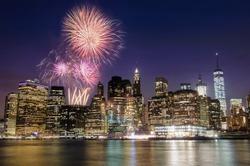 Firework over Manhattan island in New York