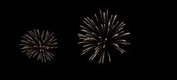 Firework spark design light celebrate abstract bokeh night background, banner space for text display