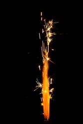 firework sparkler isolated on black