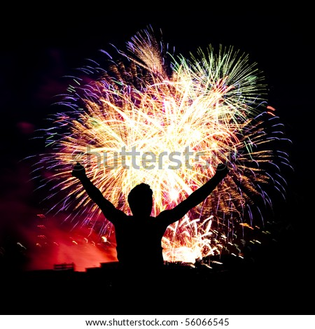 Firework streaks in night sky, celebration background