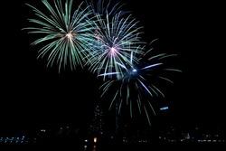 Fireworks a night sky