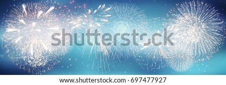 Fireworks and bokeh in New Year eve and copy space. Abstract background holiday. #697477927