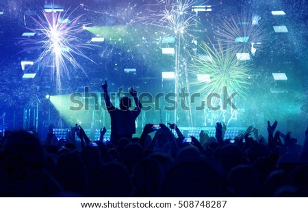 Fireworks and crowd celebrating the New Year #508748287