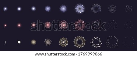 Fireworks animation. Animated firework explosion frames, party firecracker explosion storyboards. Fireworks explosions  illustration set. Explosion sequence action, firework collection set