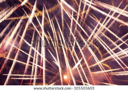 Fireworks are a class of explosive pyrotechnic devices used for aesthetic and entertainment purposes.