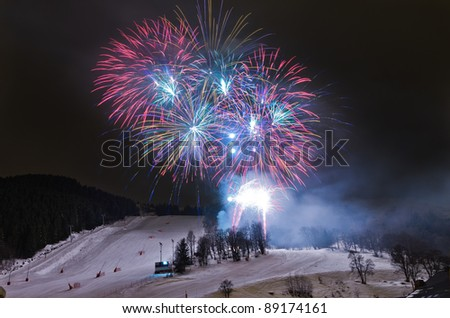 Fireworks are shot for the elebration of russian christmas. in Meribel, France.The haute savoie has become a top destination for rich russianple rich people
