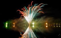 fireworks at a lake in salzburg, austria
