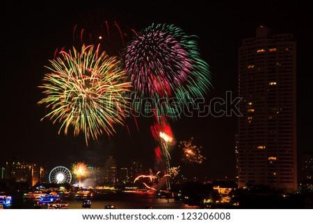 Fireworks at Bangkok. It happy new year, Thailand