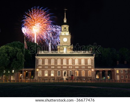 Fireworks at Independence Hall National Historic Park in Philadelphia.