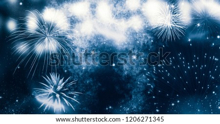 fireworks at New Year and copy space - abstract holiday background #1206271345