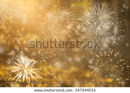 Fireworks at New Year and copy space - abstract holiday background #347644016