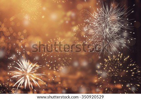 Fireworks at New Year and copy space - abstract holiday background #350920529