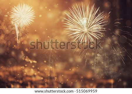 Fireworks at New Year and copy space - abstract holiday background #515069959