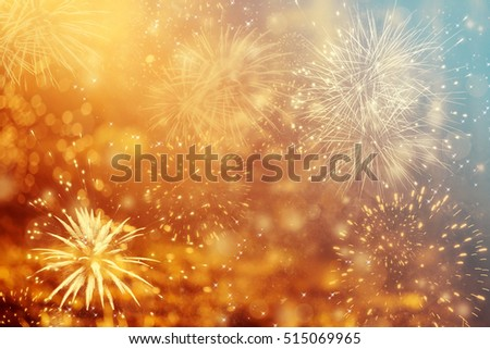 Fireworks at New Year and copy space - abstract holiday background #515069965