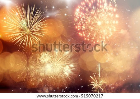 Fireworks at New Year and copy space - abstract holiday background #515070217