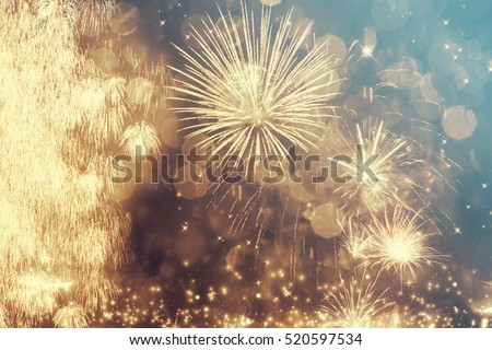 Fireworks at New Year and copy space - abstract holiday background #520597534