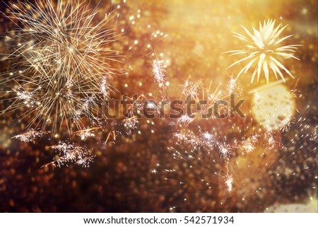 fireworks at New Year and copy space - abstract holiday background #542571934