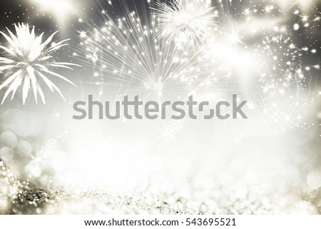 fireworks at New Year and copy space - abstract holiday background #543695521