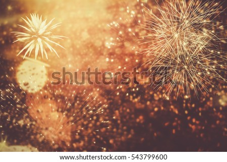 fireworks at New Year and copy space - abstract holiday background #543799600