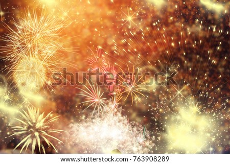 fireworks at New Year and copy space - abstract holiday background #763908289