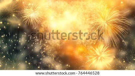 fireworks at New Year and copy space - abstract holiday background #764446528