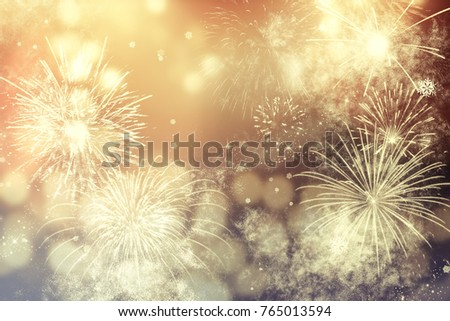 fireworks at New Year and copy space - abstract holiday background #765013594