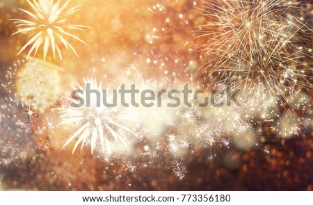 fireworks at New Year and copy space - abstract holiday background #773356180