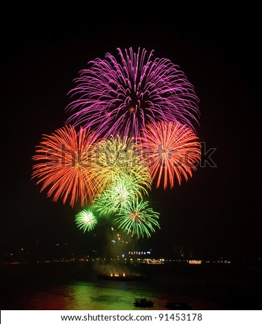 Fireworks at Pattaya beach, Thailand
