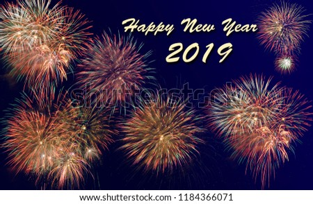 fireworks at Silvester and new year`s day 2019