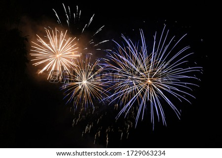 """Fireworks at Traunsee - Every year in Altmünster on Lake Traunsee there is the festival """"The Traunstein shines"""" with large fireworks."""