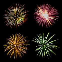 Fireworks Blast at 4th of July celebration in the United States, Vibrant color effect