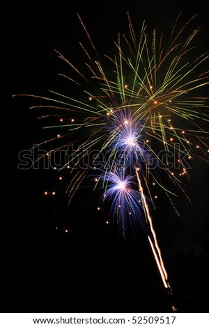 Fireworks Bursting In Air, Independence Day, Celebration, 4th of July at Stewart Park in Roseburg OR partially sponsored by Roseburg Fire Fighters - stock photo