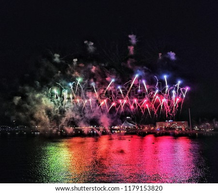 Fireworks by the River Daugava at the City Celebration