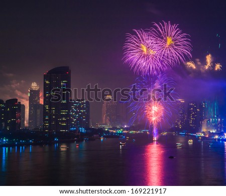 Fireworks countdown (Happy New Year) in city landscape, Bangkok Asia Thailand