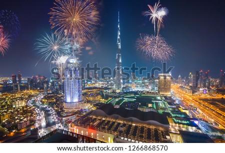 Fireworks display at town square of Dubai downtown, Dubai night celebrating view