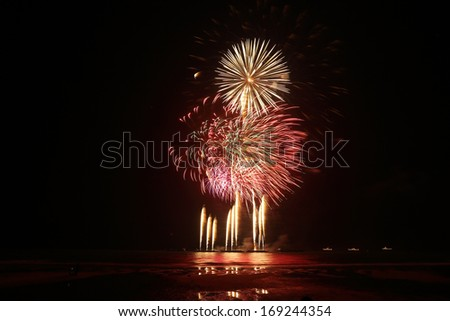 Fireworks display event for celebrate new year in the middle of ocean Thailand