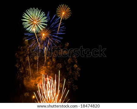 Fireworks display on black background